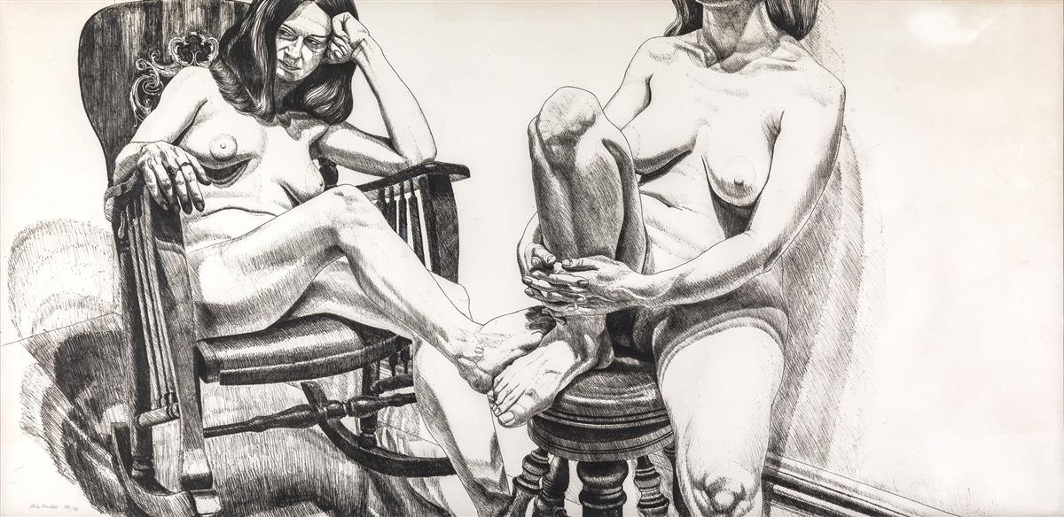 PHILIP-PEARLSTEIN-Two-Female-Nudes-on-Rocker-and-Stool