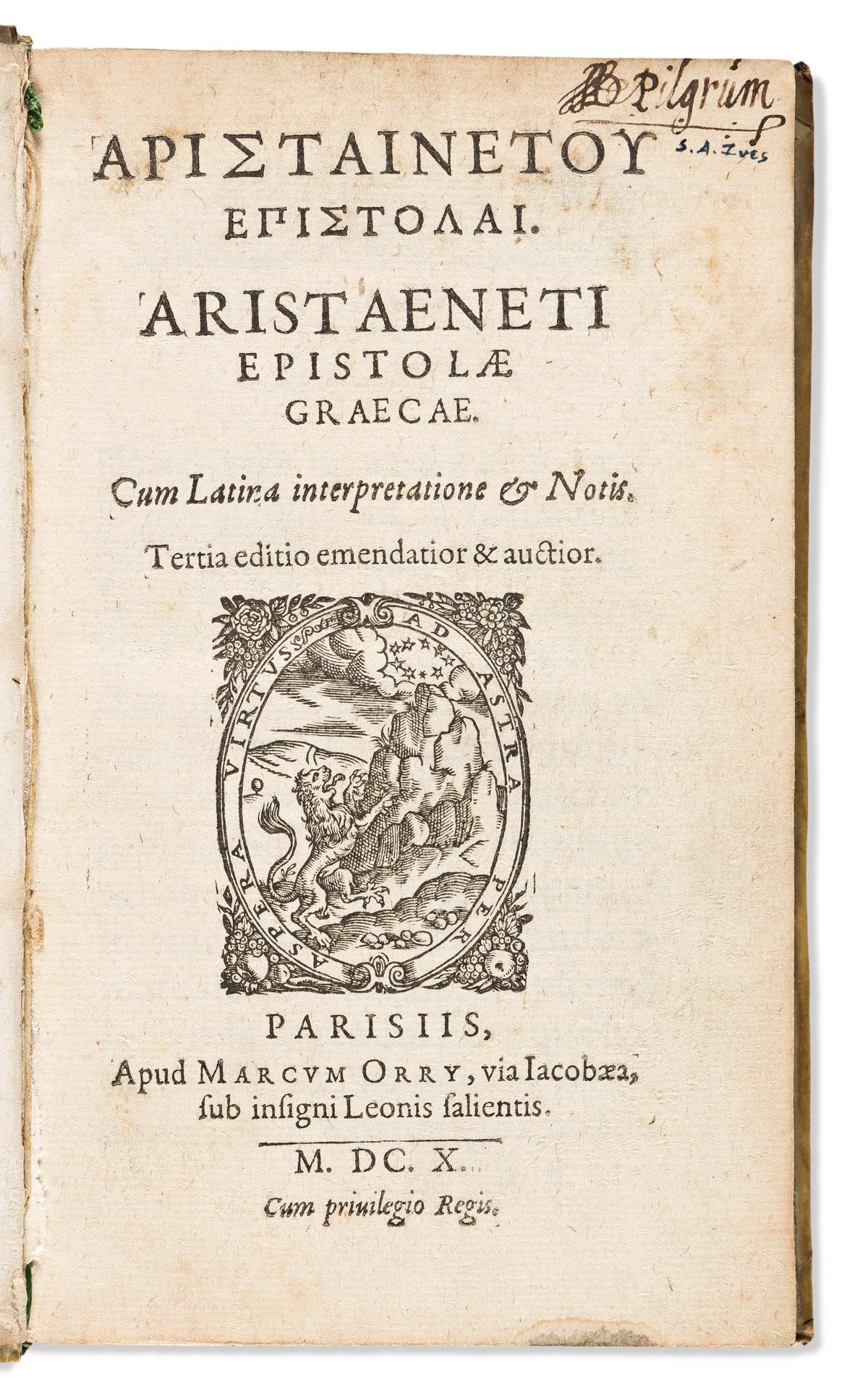 Aristaenetus (fl. circa 5th or 6th CE) Epistolae Graecae. Cum Latina Interpretatione & Notis. Tertia Editio Emendatior & Auctior.