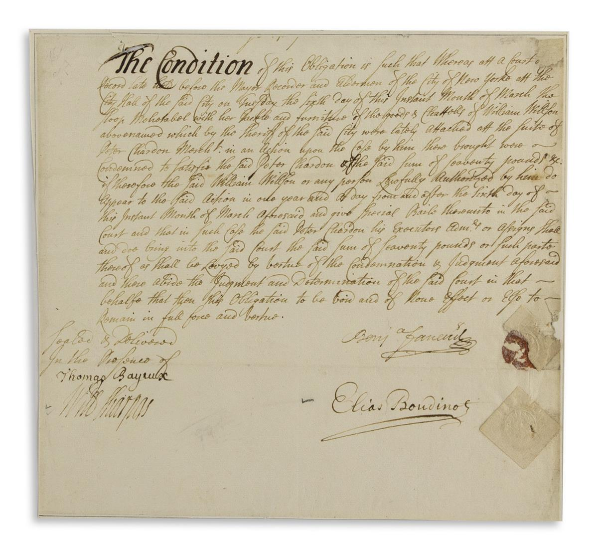 BOUDINOT-ELIAS-Fragment-of-a-Document-Signed-defining-the-co