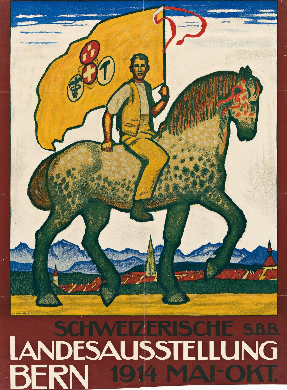 EMIL CARDINAUX (1877-1936).  SCHWEIZERISCHE LANDESAUSSTELLUNG BERN. 1914. 33x24½ inches, 83¾x62¼ cm. [J.E. Wolfensberger, Zurich.]