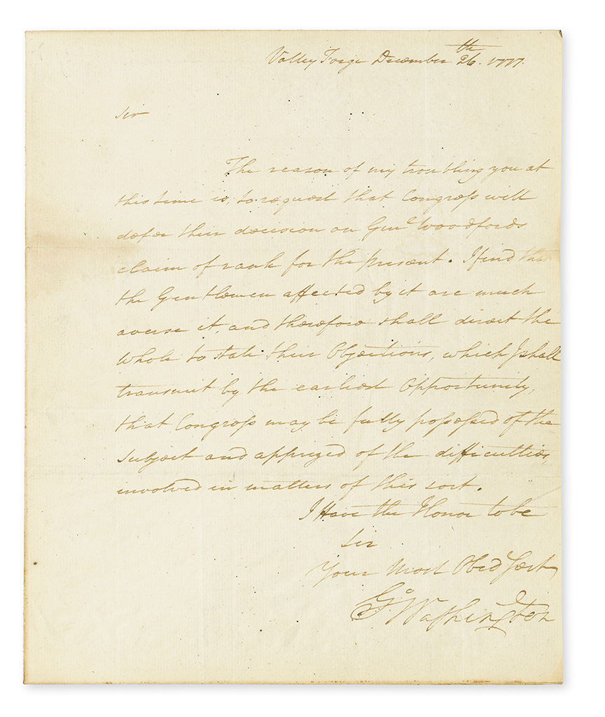 (AMERICAN REVOLUTION.) GEORGE WASHINGTON. Letter Signed, G:Washington, as Commander-in-Chief, to the President of Congress Henry Laur