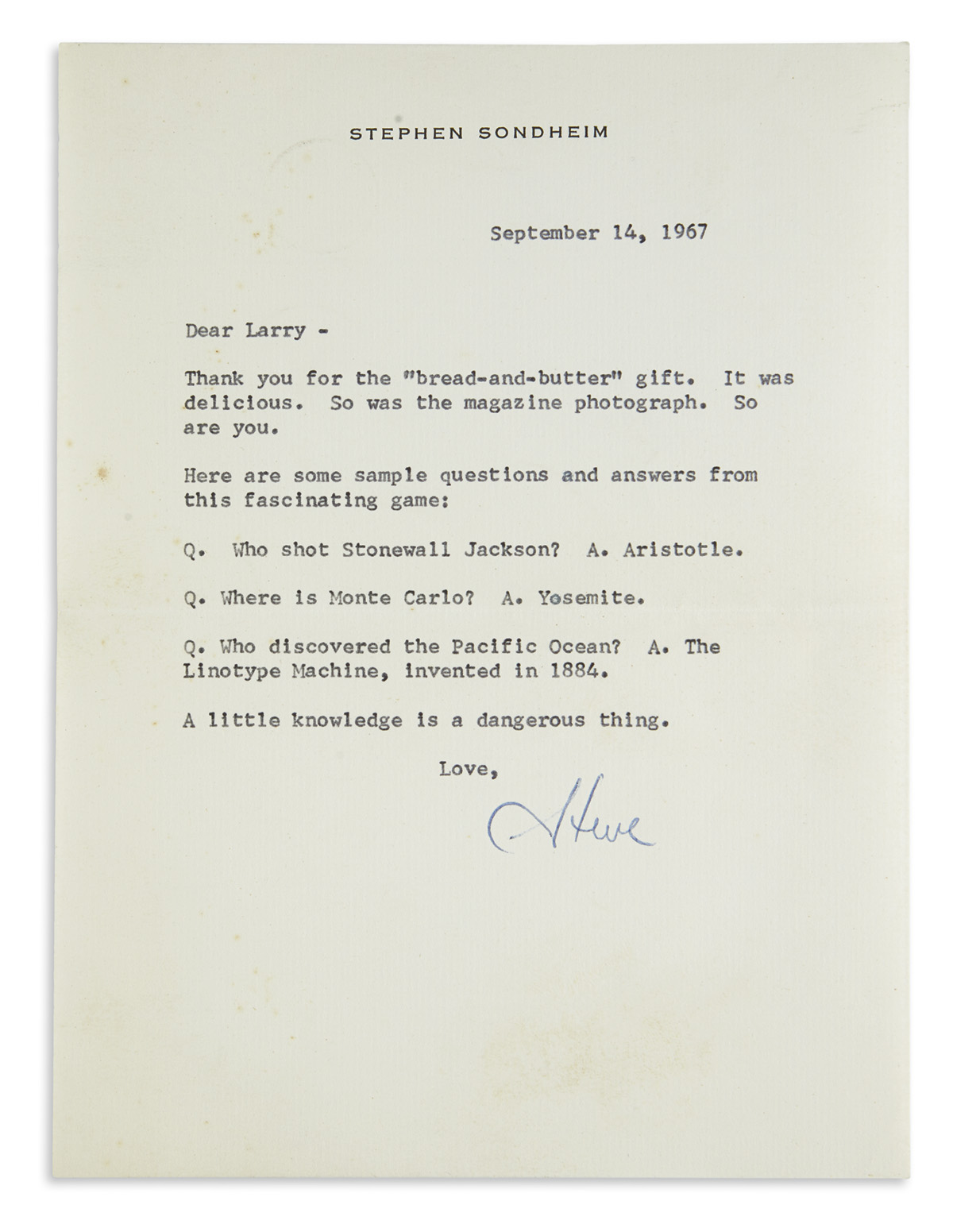 SONDHEIM, STEPHEN. Archive of 77 items Signed, or Signed and Inscribed, to his friend Larry Miller,