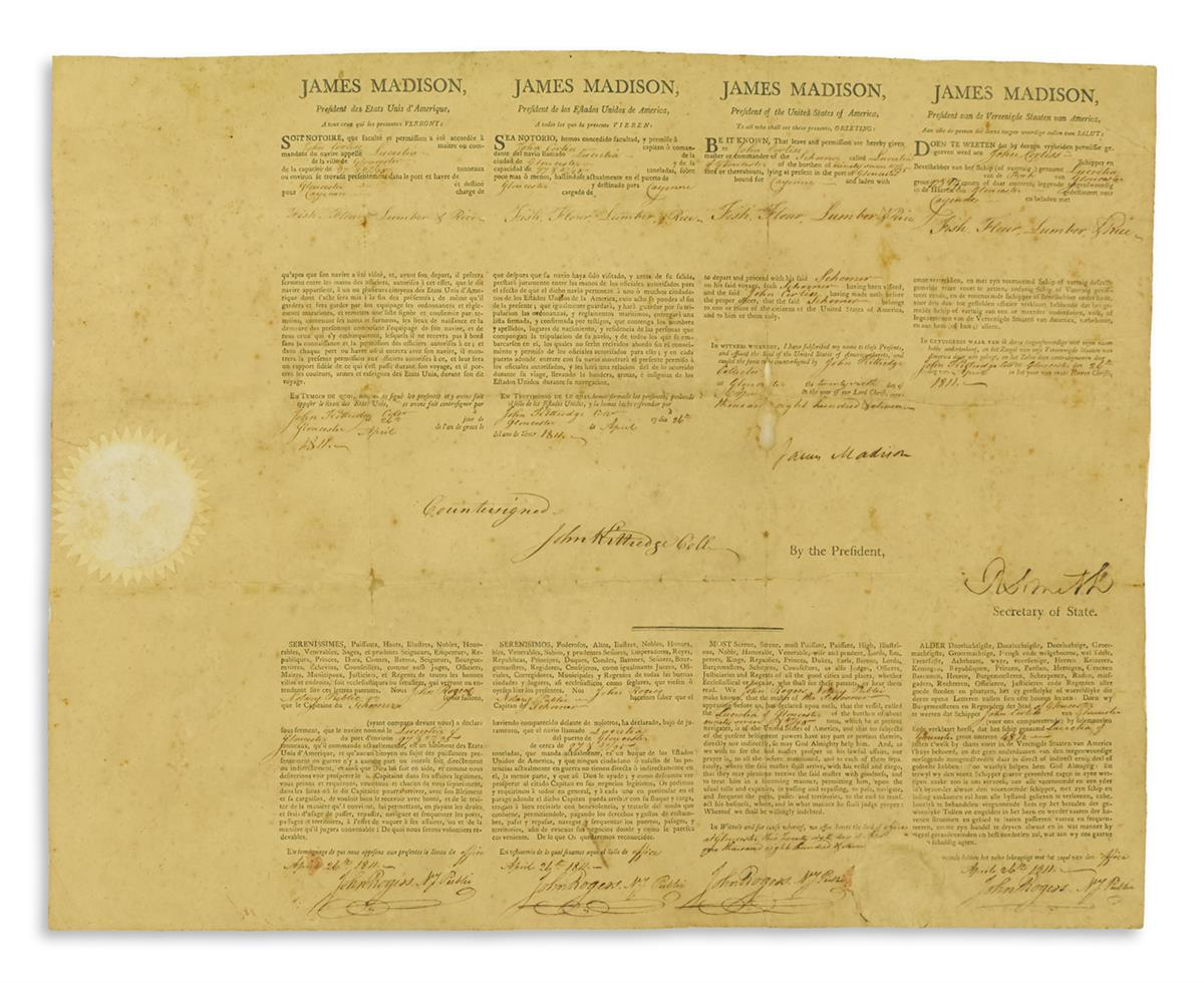 JAMES-MADISON-Partly-printed-Document-Signed-as-President