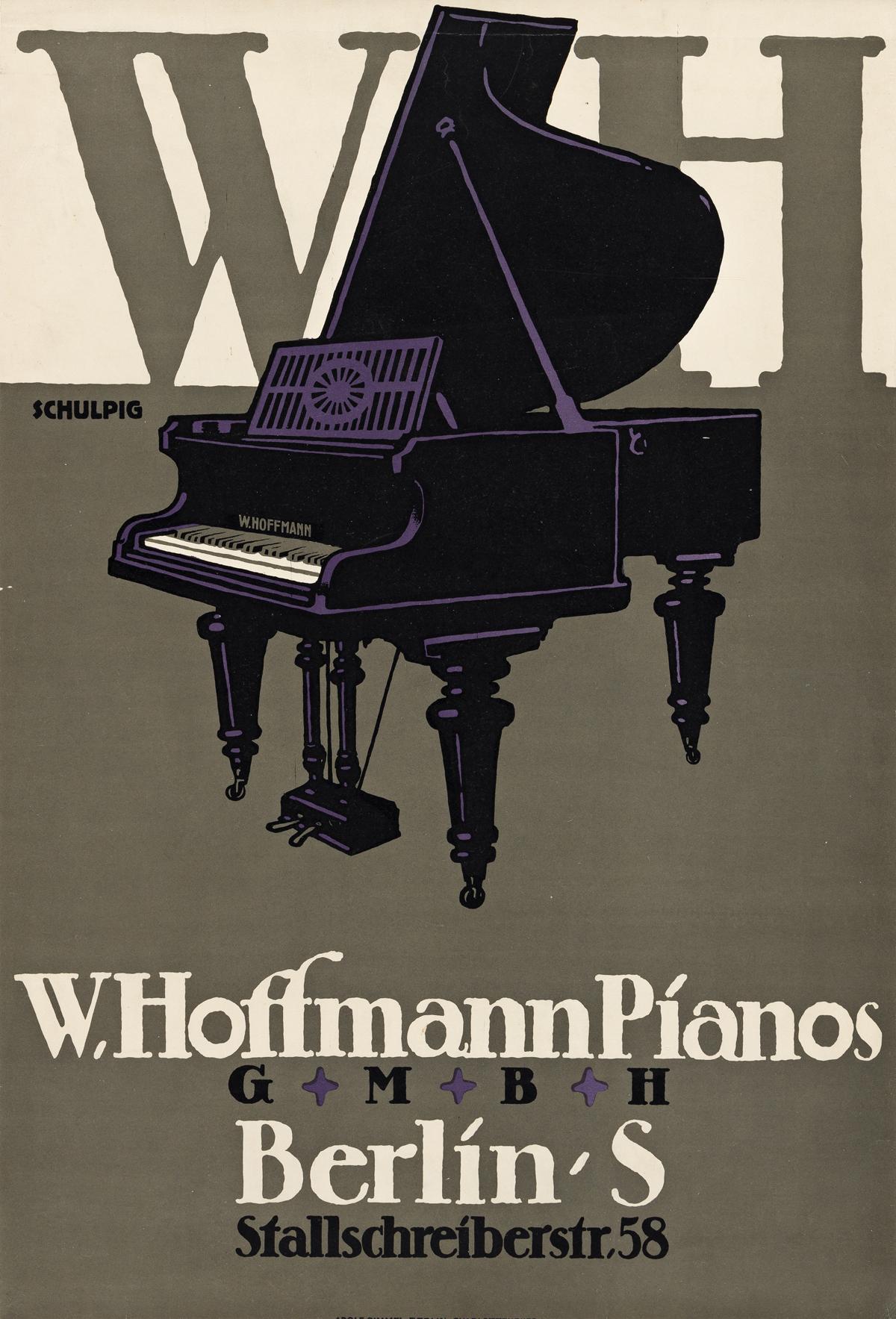 KARL SCHULPIG (1884-1948).  W. HOFFMANN PIANOS. 1912. 27x18¼ inches, 68½x46¼ cm. Adolf Simmel, Berlin.