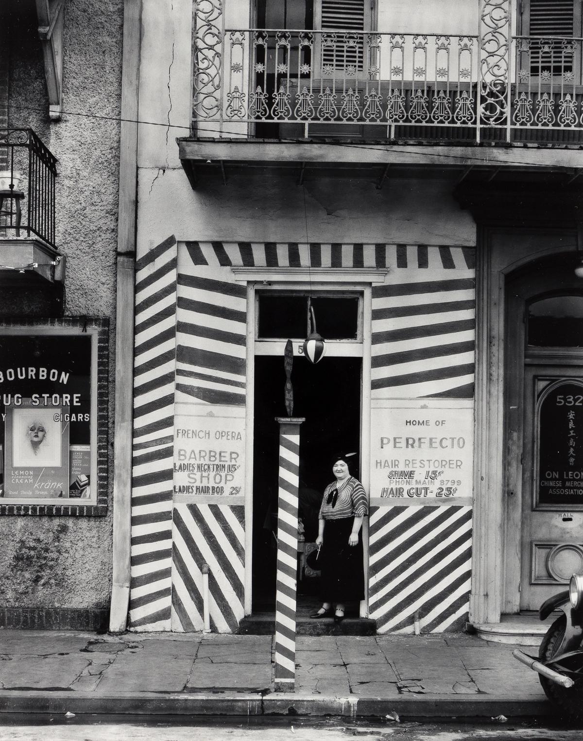 WALKER EVANS (1903-1975) Barber shop, New Orleans.