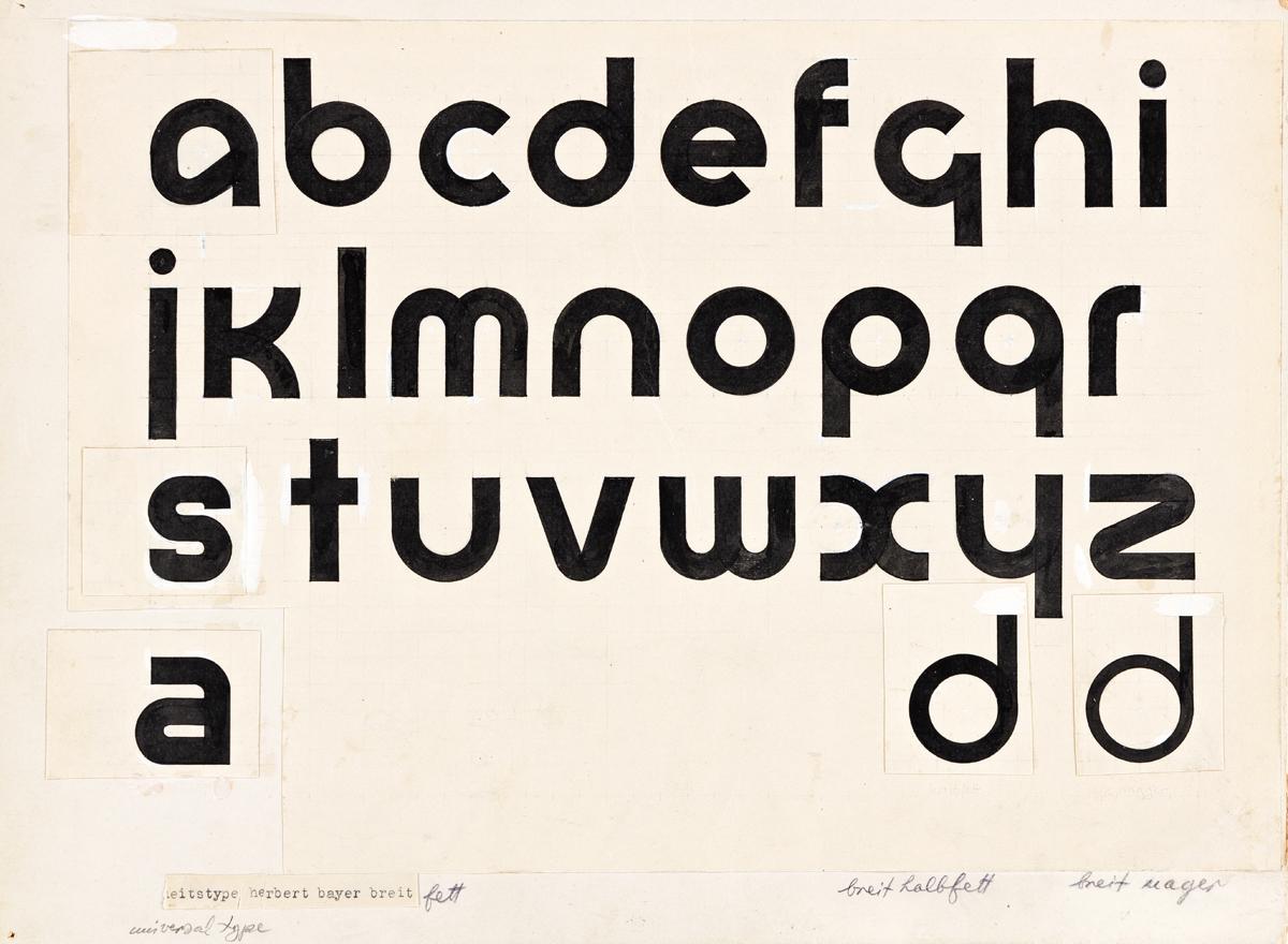 HERBERT BAYER (1900-1985).  UNIVERSAL TYPE / BREIT HALBFETT. Ink and gouache maquette. Circa 1925. 9¼x12½ inches, 23½x31¾ cm.