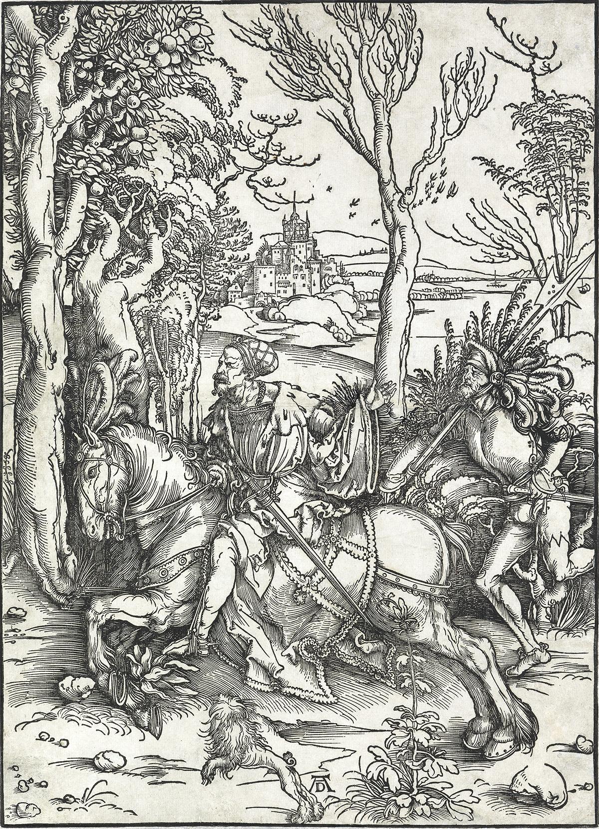 ALBRECHT-DÜRER-A-Knight-on-Horseback-and-the-Lansquenet