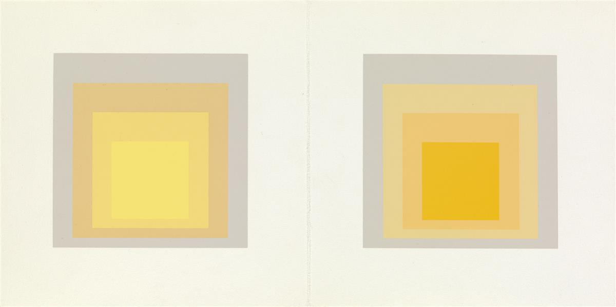 JOSEF ALBERS (after) I-S LXXIIIa and I-S LXXIIIb (Greeting Card)  Two color screenprints on cream wove paper, 1973