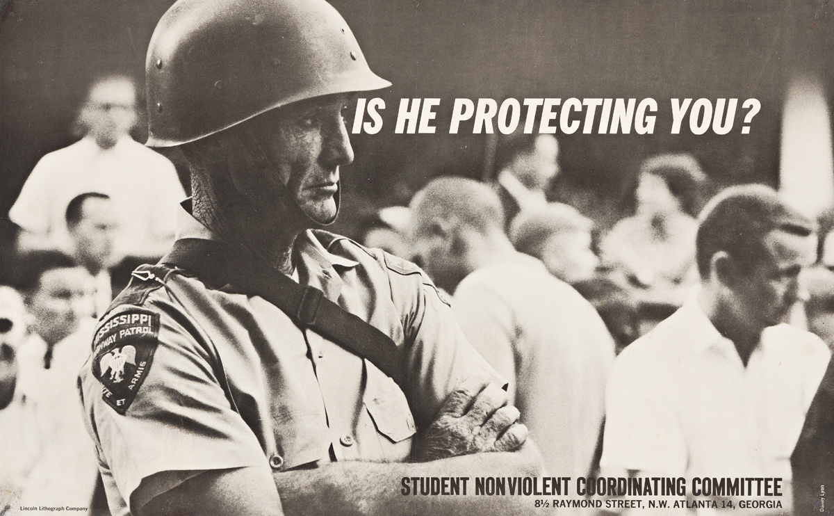 DANNY LYON (1942- ).  IS HE PROTECTING YOU? / STUDENT NONVIOLENT COORDINATING COMMITTEE. Circa 1963. 13¼x22¼ inches, 33½x56½ cm. Lincol