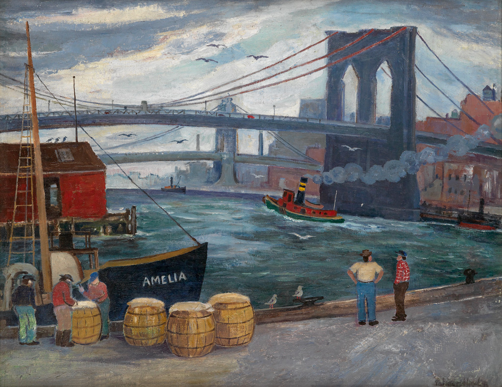PALMER HAYDEN (1890 - 1973) Brooklyn Bridge and Dockworkers.