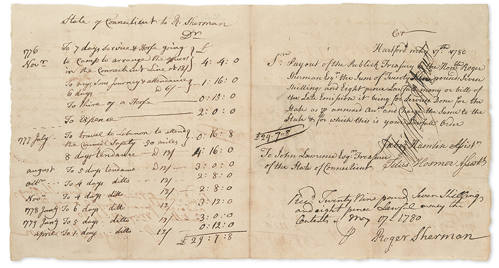 (AMERICAN REVOLUTION.) SHERMAN, ROGER. Autograph Manuscript Signed, in the third person within the text, with an Autograph Endorsement
