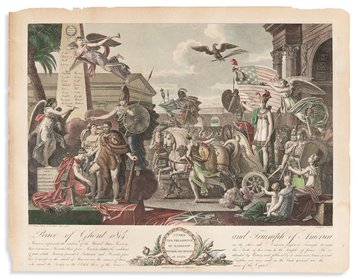 (WAR OF 1812.) Chataigner, engraver; after Julia Plantou. Peace of Ghent 1814, and Triumph of America.