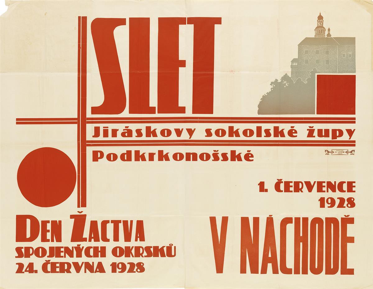 DESIGNER UNKNOWN. SLET. 1928. 37x48 inches, 94x123 cm. V. Lehm, Nachod.
