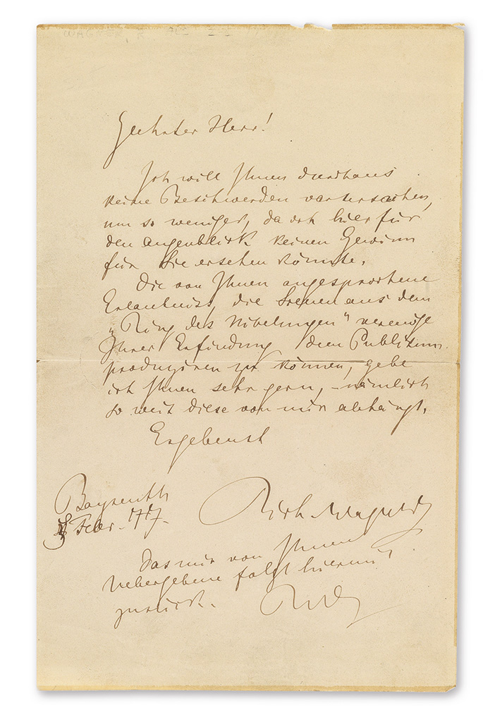 WAGNER, RICHARD. Autograph Letter Signed, twice (Rich Wagner and RW), to an unnamed recipient (Dear Sir), in German,