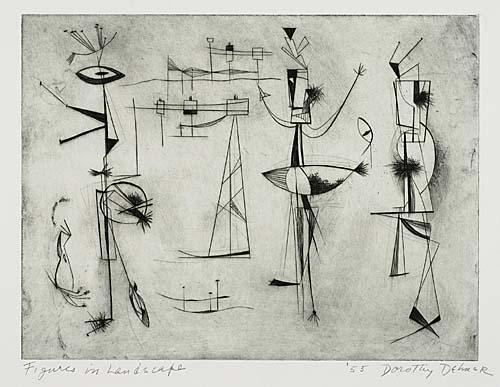 DOROTHY DEHNER Figures in a Landscape.