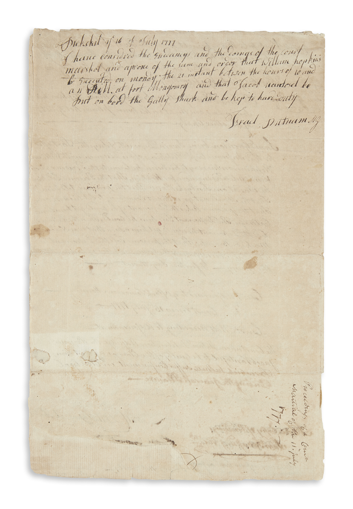 PUTNAM, ISRAEL. Autograph endorsement Signed, as Major General, six lines on the terminal page of a document recording a court-martial