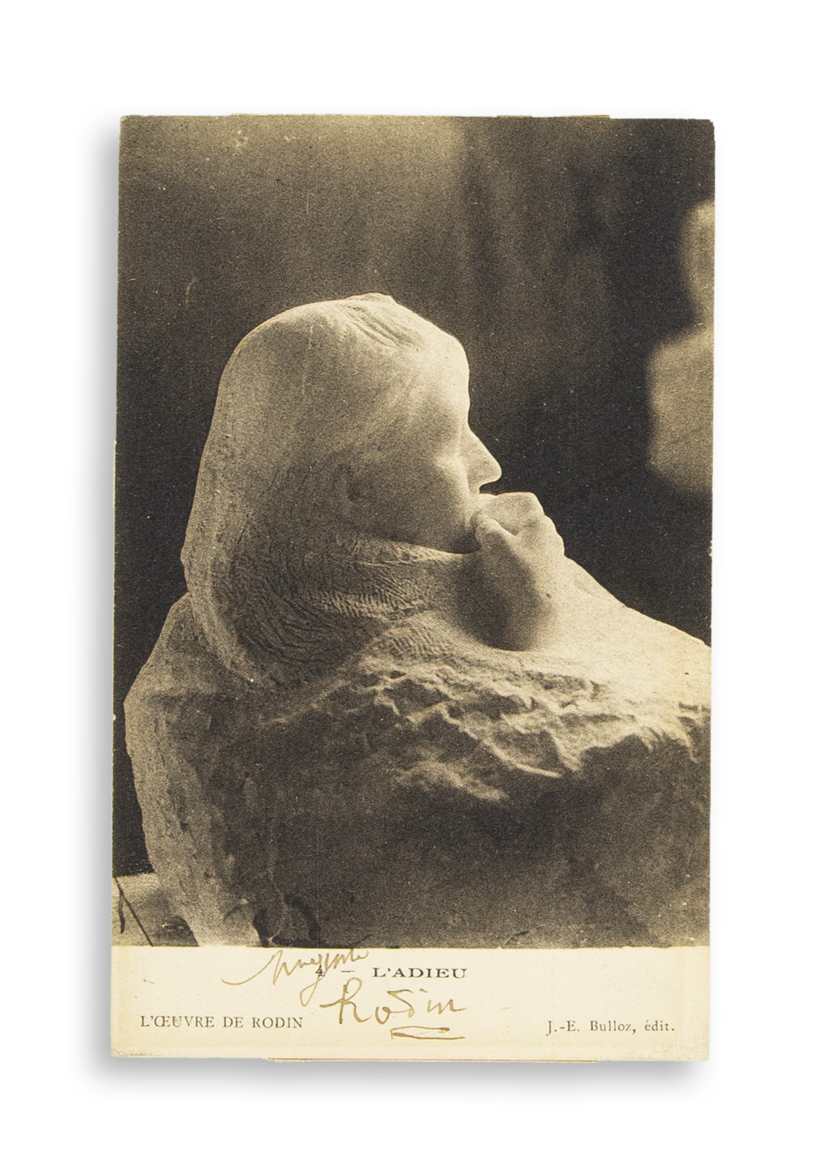 RODIN, AUGUSTE. Photograph postcard Signed, in full, showing his sculpture, Farewell.
