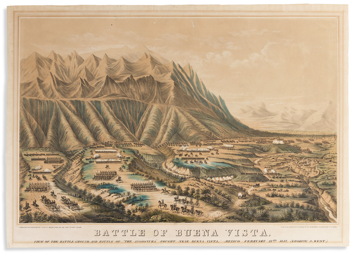 (COMMERCE & EXPANSION.) Frances Palmer, lithographer. Battle of Buena Vista: View of the Battle-Ground and Battle of The Angostura.
