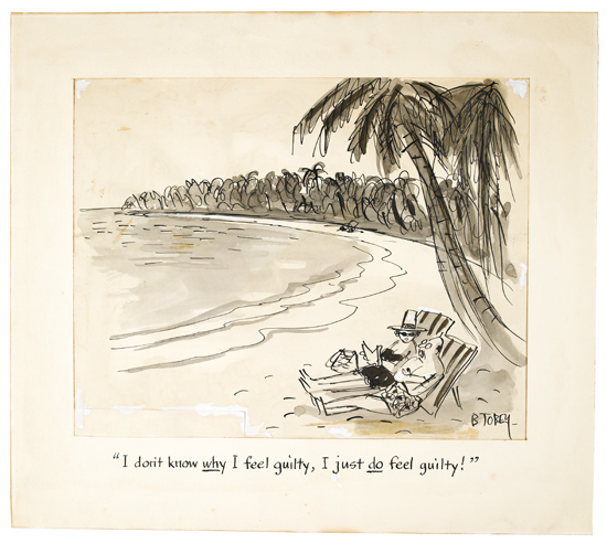 (CARTOONS)-TOBEY-BARNEY-Ink-and-wash-drawing-captioned-and-S
