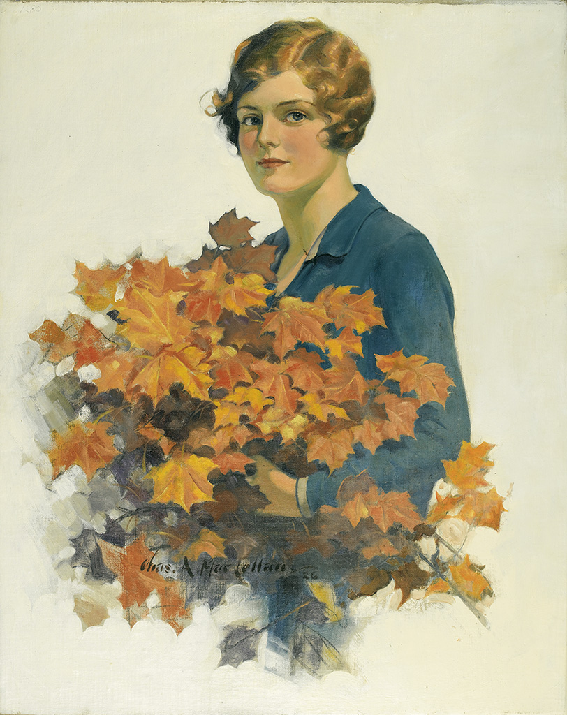 CHARLES ARCHIBALD MacLELLAN. Woman with autumn foliage bouquet.