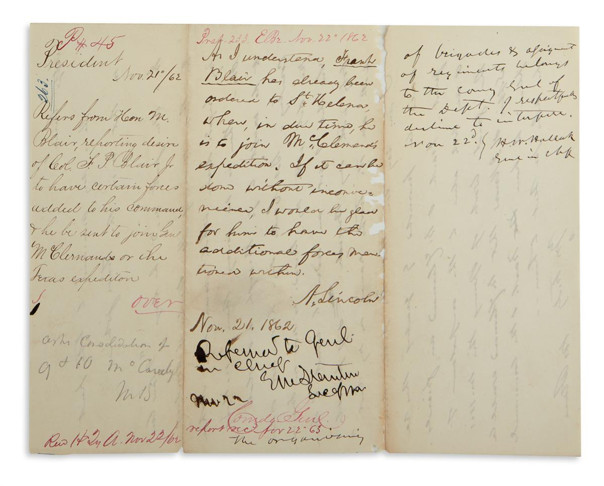 ENDORSED BY PRESIDENT, SECRETARY OF WAR, AND TOP GENERAL ABRAHAM LINCOLN. Autograph Endorsement Signed, A. L...