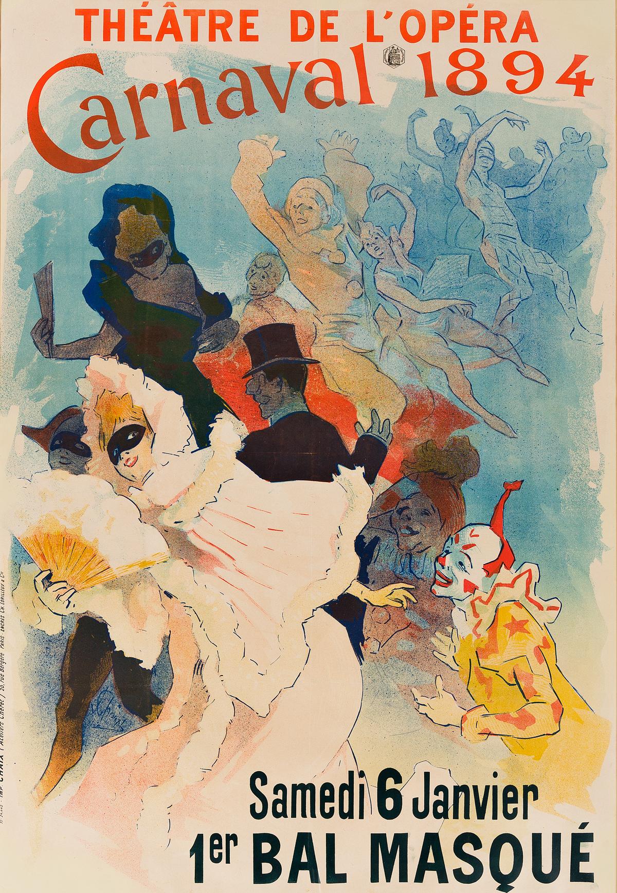 JULES CHÉRET (1836-1932). CARNAVAL / 1ER BAL MASQUÉ. 1894. 48x33 inches, 122x84 cm. Chaix, Paris.