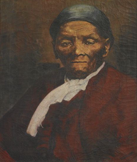 (SLAVERY AND ABOLITION.)--(TUBMAN, HARRIET.) [ERNSBERGER, W.] Oil portrait of Harriet Tubman, after a famous photograph by W. Ernsberge