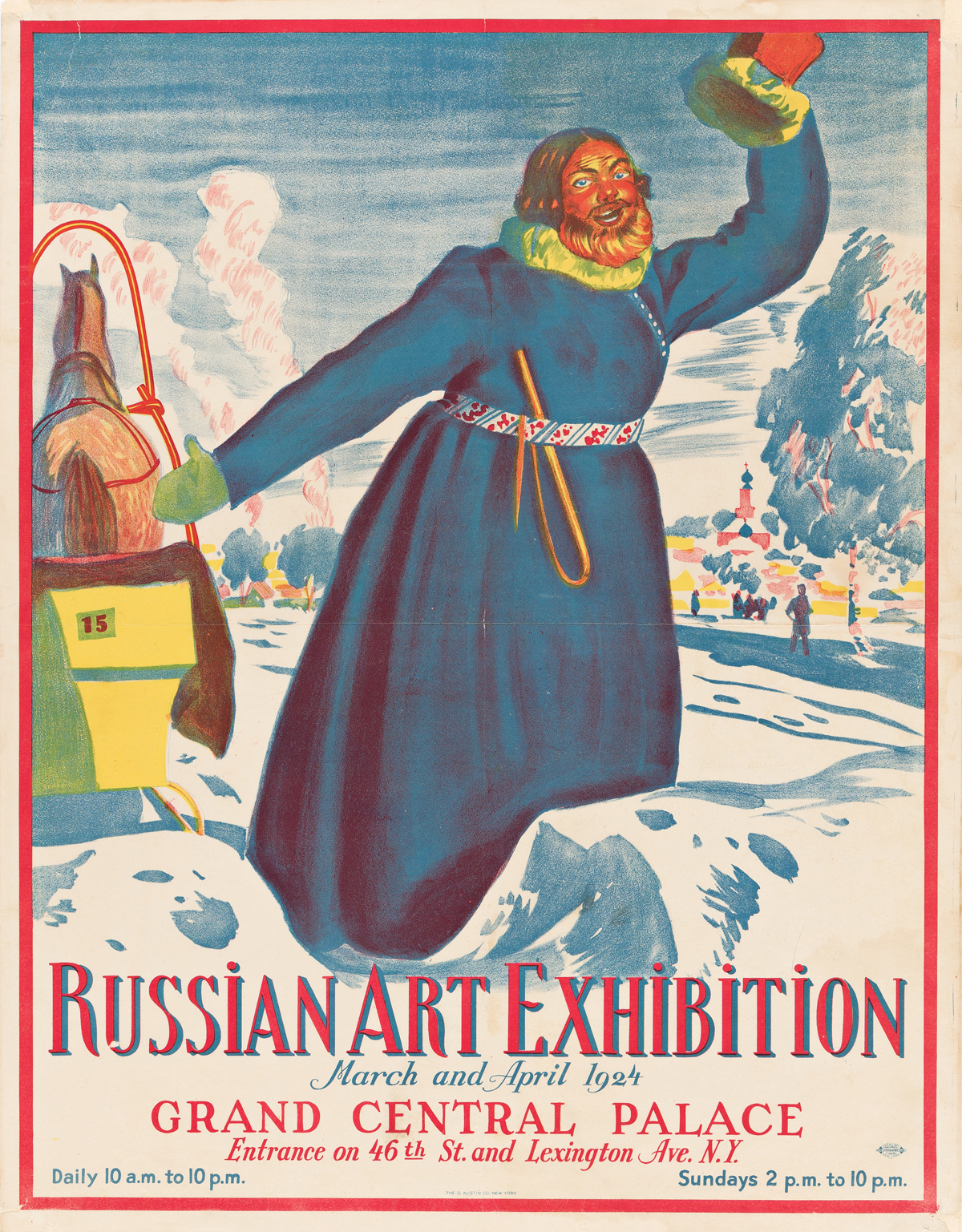 BORIS KUSTODIEV (1878-1927).  RUSSIAN ART EXHIBITION / GRAND CENTRAL PALACE. 1924. 28x22 inches, 71x56 cm. The O. Austin Co., New York.