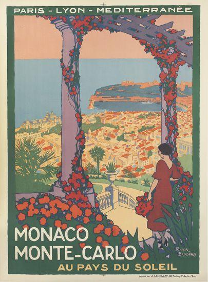 ROGER BRODERS (1883-1953). MONACO / MONTE - CARLO. Circa 1920. 42x30 inches, 107x78 cm. J. Langlois, Paris.