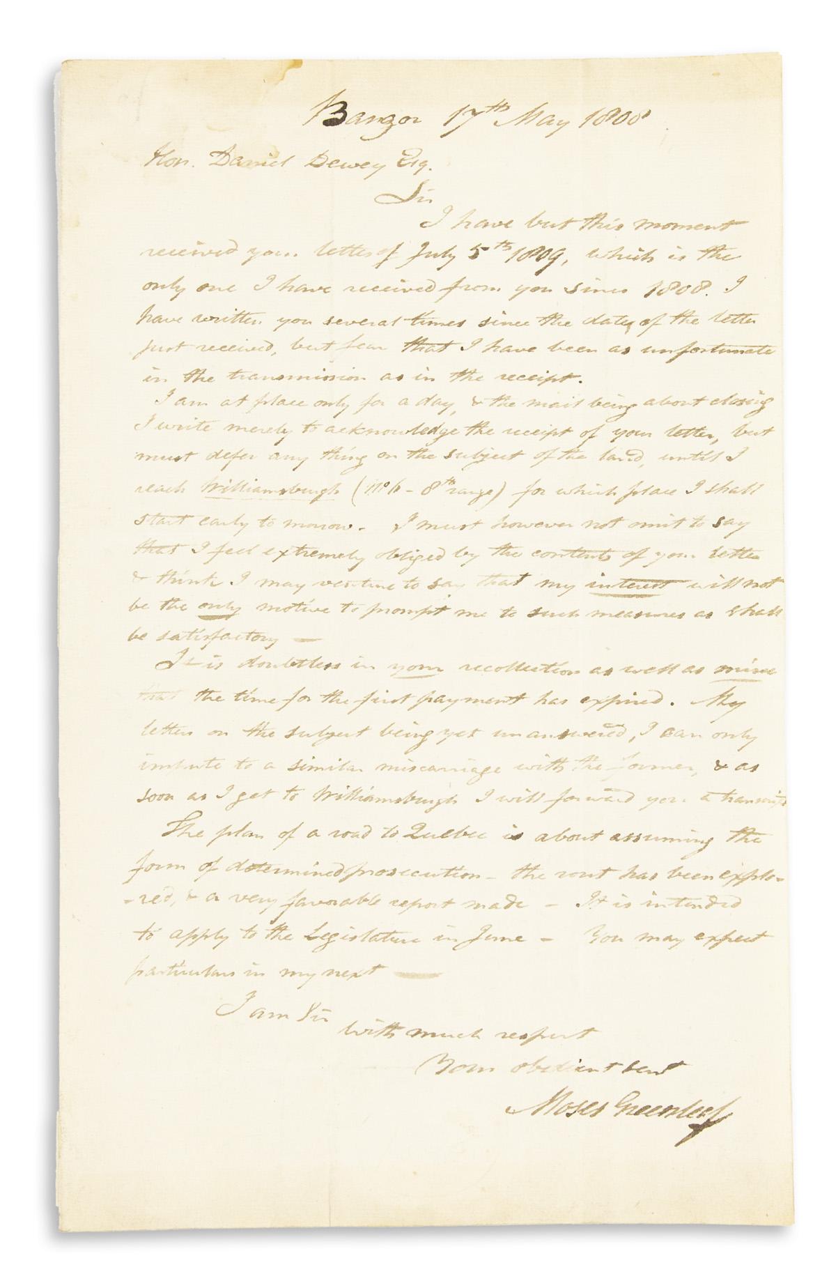 (MAINE)-GREENLEAF-MOSES-Autograph-Letter-Signed-to-Daniel-De