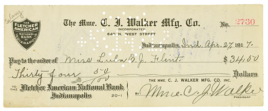 (BUSINESS.) WALKER, MADAME C. J. Check Signed by Madame C. J. Walker to Miss Lula E.J. Flint, an employee for $34.00.