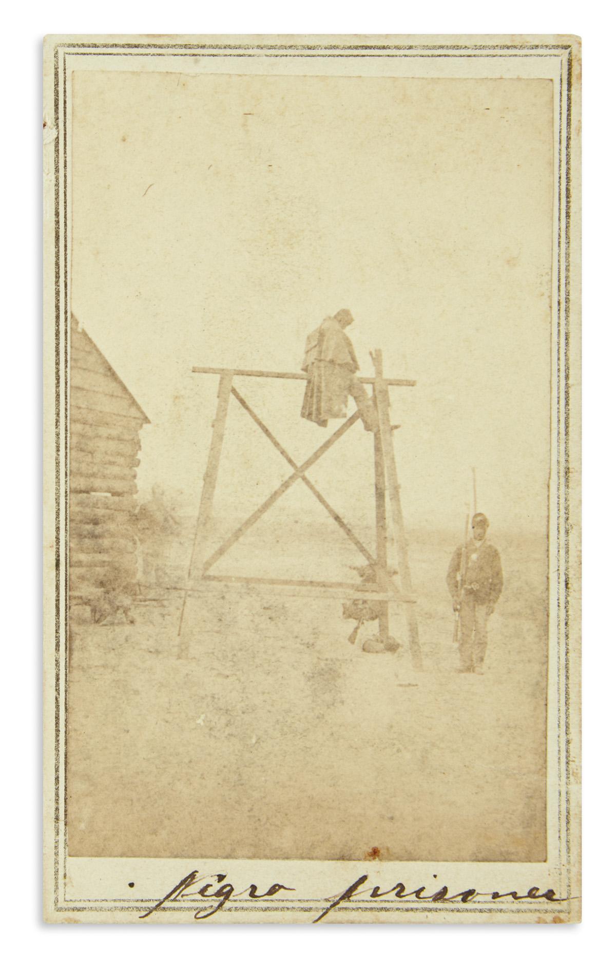 (MILITARY--CIVIL WAR.) Newell, Lafayette V.; photographer. Carte-de-visite punishment scene of a Negro prisoner at Point Lookout.