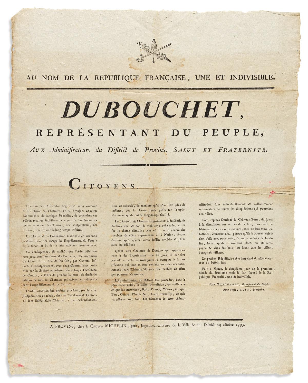 Dubouchet, Pierre (1737-1818) Au Nom de la Republique Française, Une et Indivisible. Dubouchet Représentant du Peuple, aux Administrate