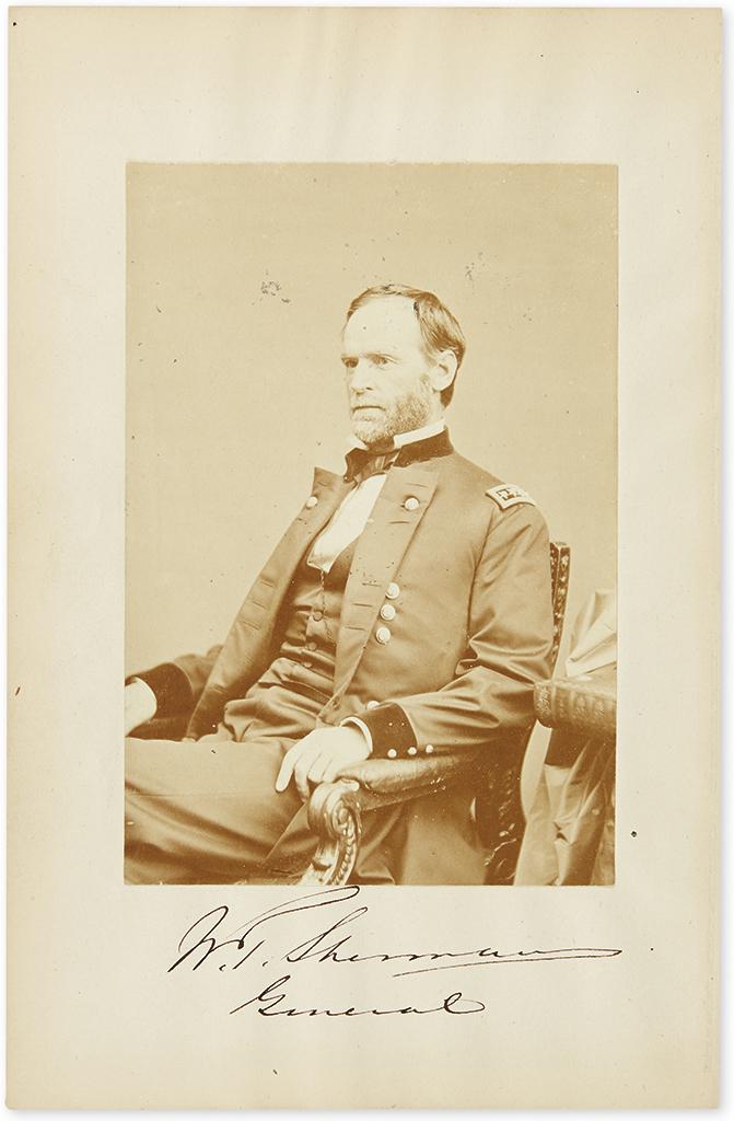 (CIVIL WAR.) SHERMAN, WILLIAM TECUMSEH. Photograph Signed, W.T. Sherman / General, half-length seated portrait by Brady,