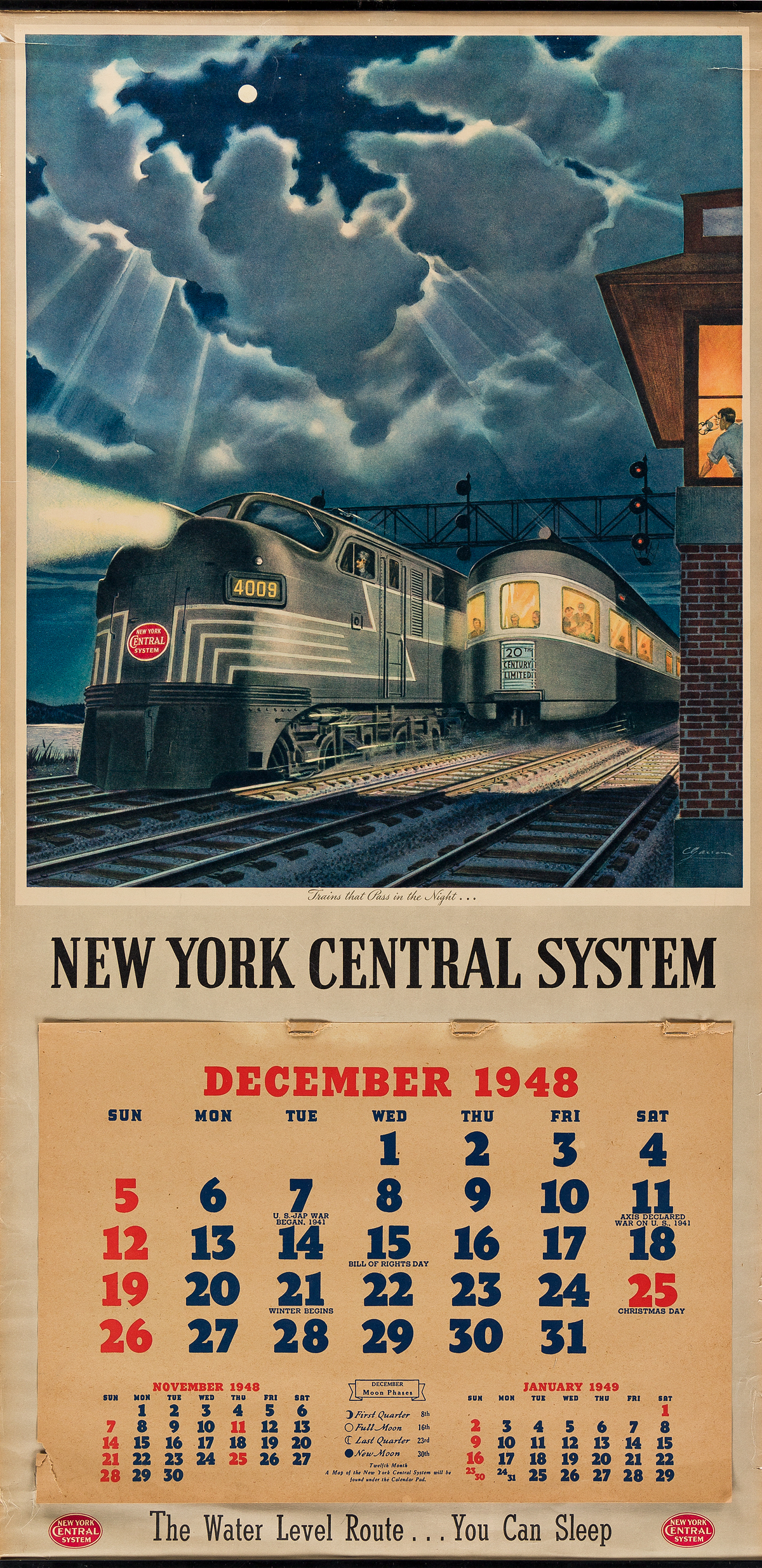 VARIOUS-ARTISTS-NEW-YORK-CENTRAL-SYSTEM-Two-calendars-1948--1949-Each-32x16-inches-83x40-cm