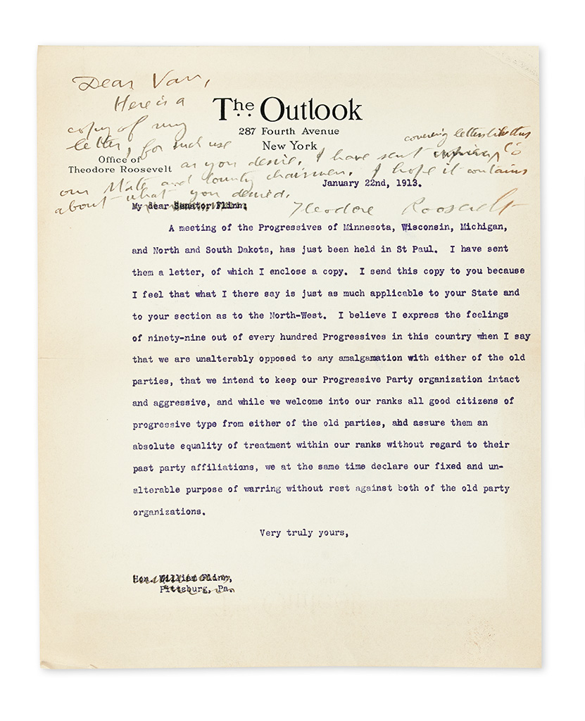 (ROOSEVELT, THEODORE.) Archive of correspondence to Edwin A. Van Valkenburg, each item Signed, or Signed and Inscribed, by members of t