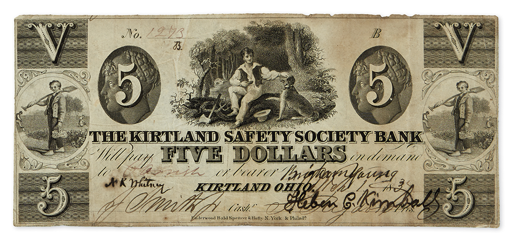 (MORMONS--CURRENCY.) $5.00 obsolete banknote issued by the Kirtland Safety Society Bank.