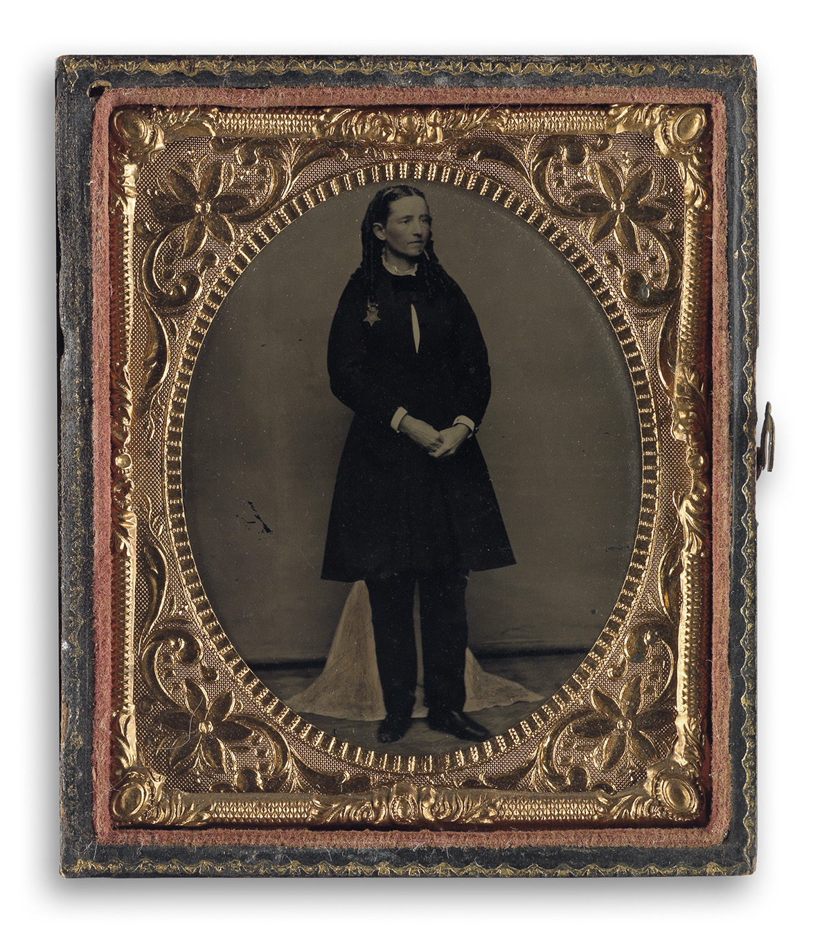 (MEDICINE--WOMENS RIGHTS--CIVIL WAR) An apparently unpublished sixth-plate tintype of the physician Mary Edwards Walker, who is wearin