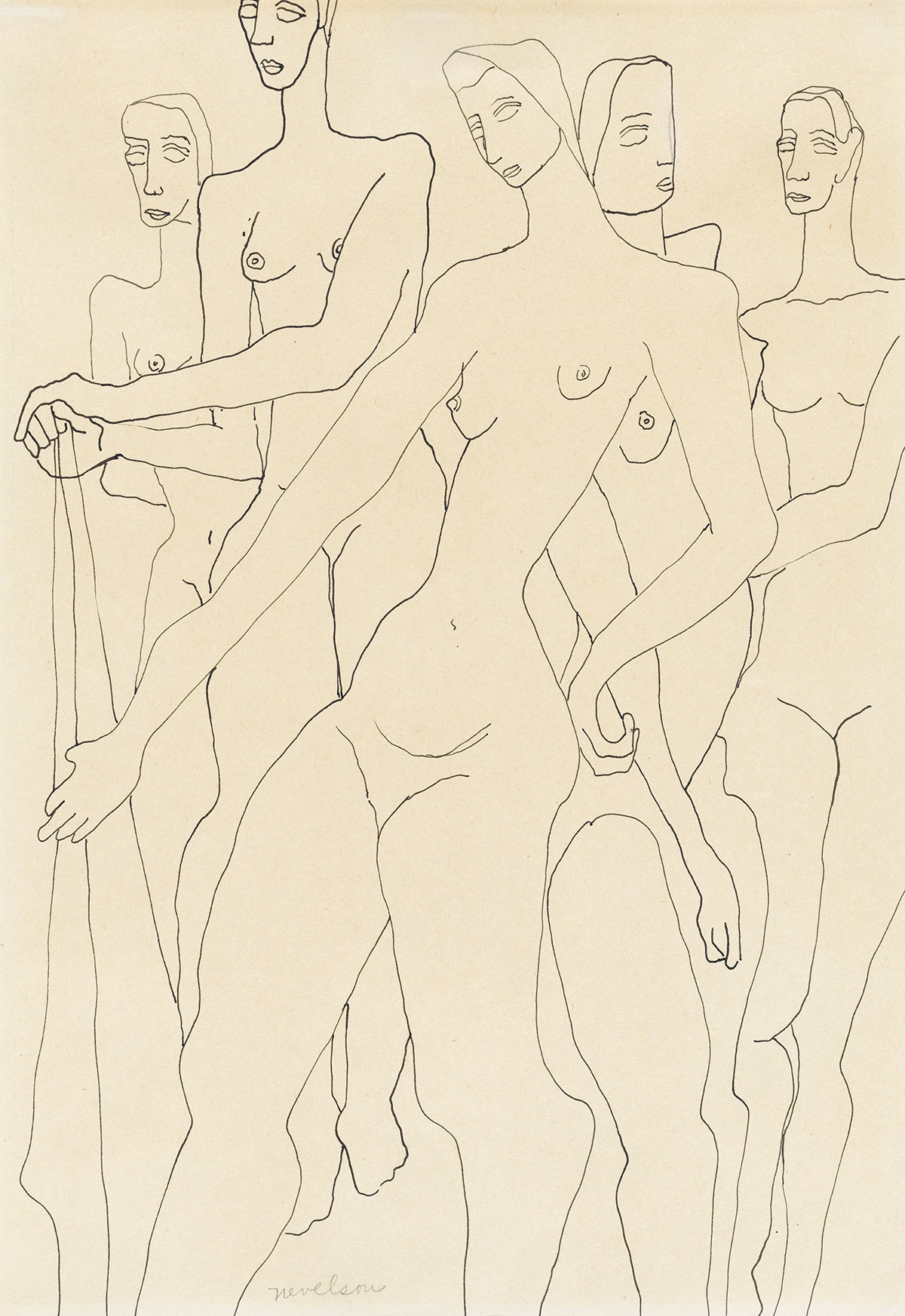 LOUISE NEVELSON Five Standing Nudes.