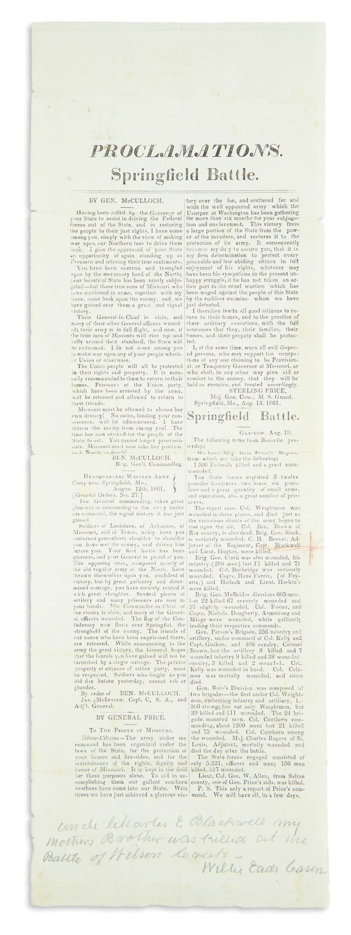(CIVIL-WAR--CONFEDERATE)-Proclamations-Springfield-Battle