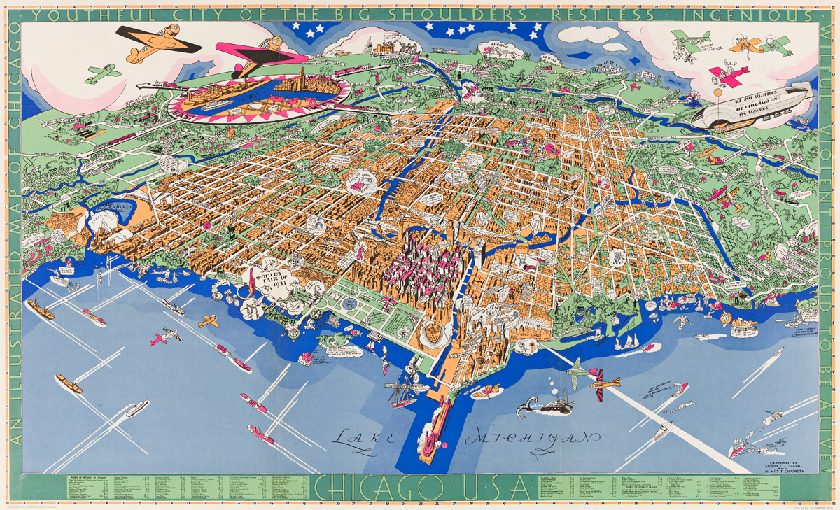 Charles Turzak (1889-1985) & Henry T. Chapman (Dates Unknown).  AN ILLUSTRATED MAP OF CHICAGO. 1931.
