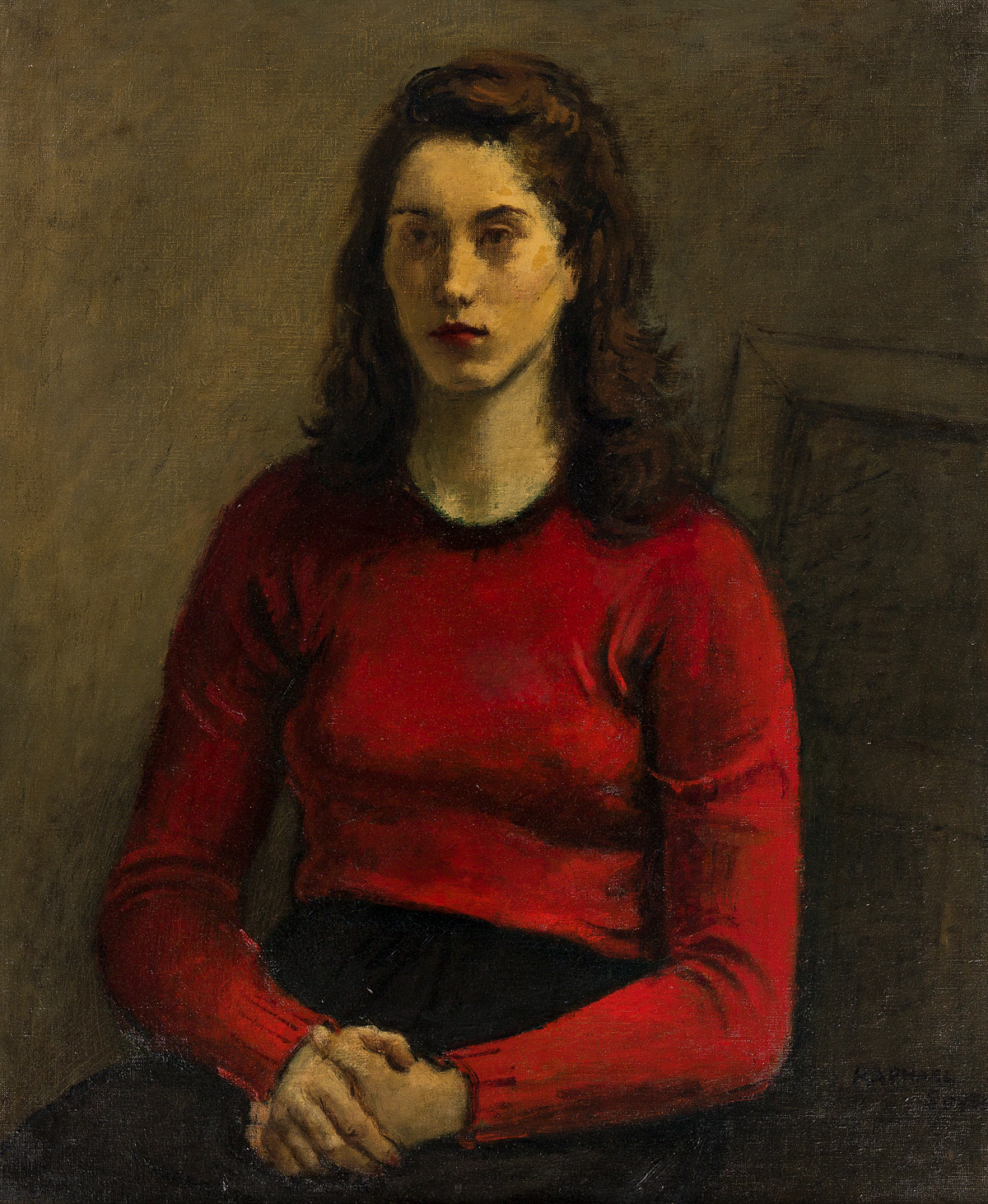 RAPHAEL SOYER Portrait of a Woman in a Red Sweater (Cynthia).