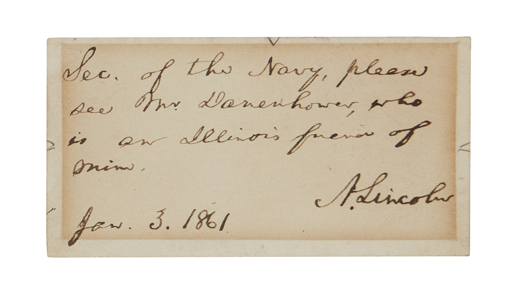 LINCOLN, ABRAHAM. Autograph Note Signed, A. Lincoln, as President-Elect, on a small card:
