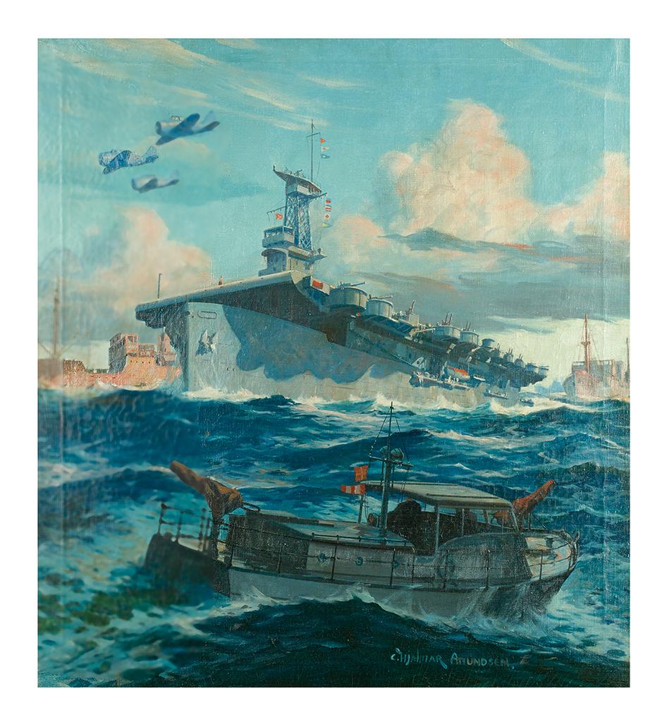 HJALMAR CAPPY AMUNDSEN. Cover art for Motor Boating magazine.