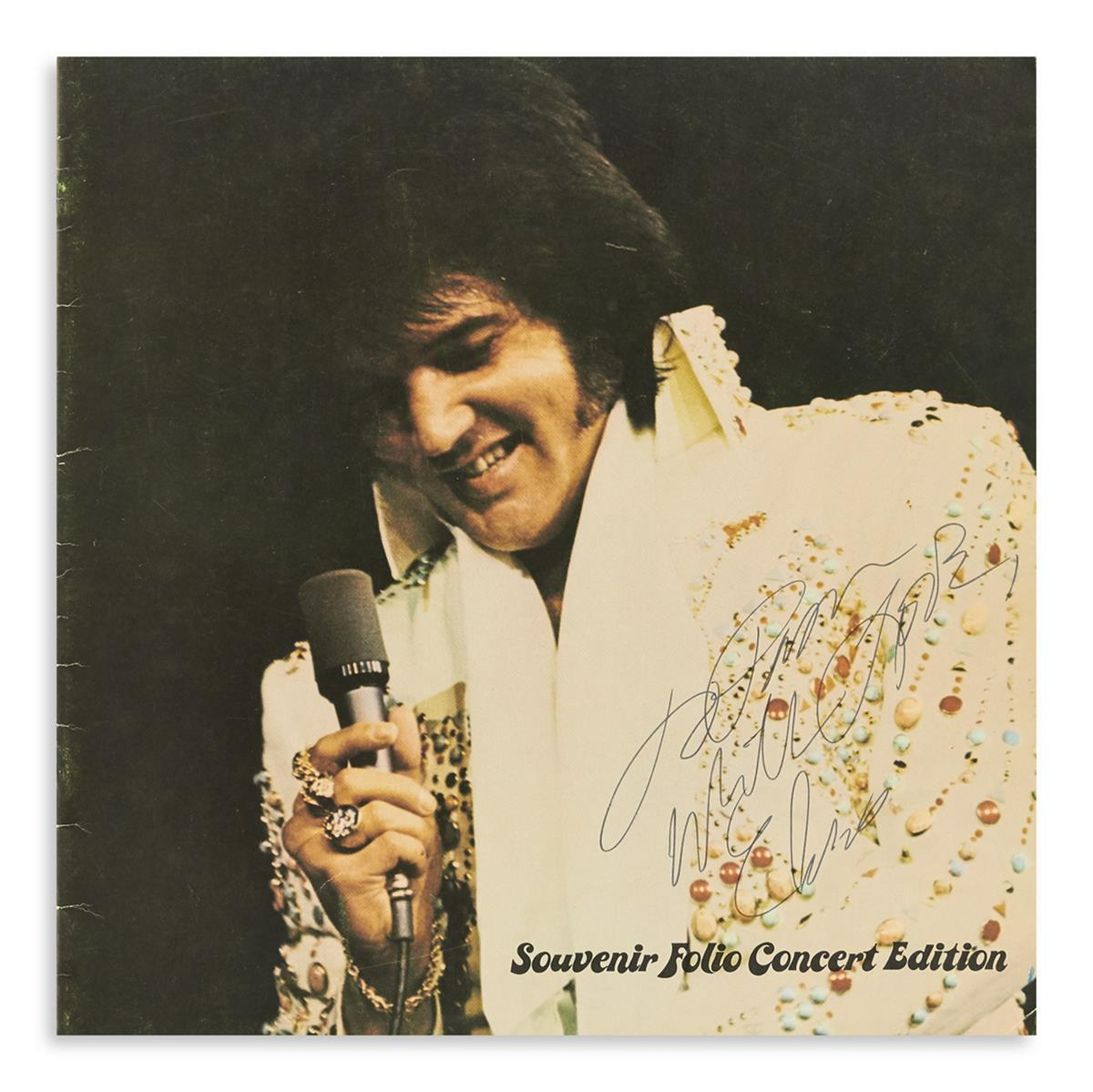 PRESLEY, ELVIS. Souvenir Folio Concert Edition, Signed and Inscribed on front cover: To Pam / with Love / Elvis.