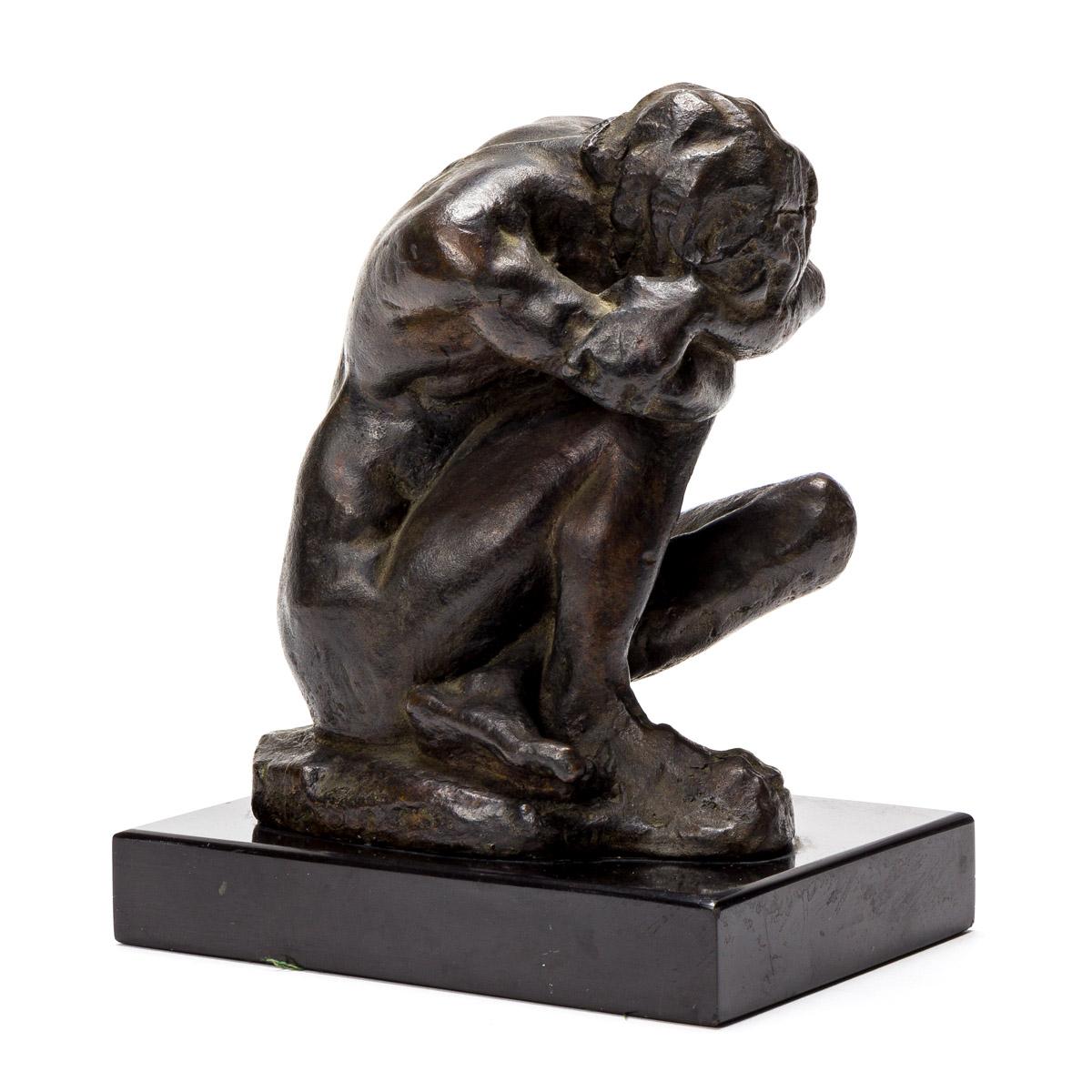ABRAHAM WALKOWITZ (1878-1965) Crouching Male Nude.