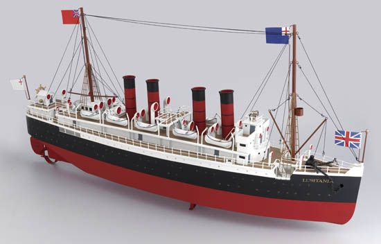(CUNARD LINE.) Lusitania. Large full hull metal model of the ship by Marklin,