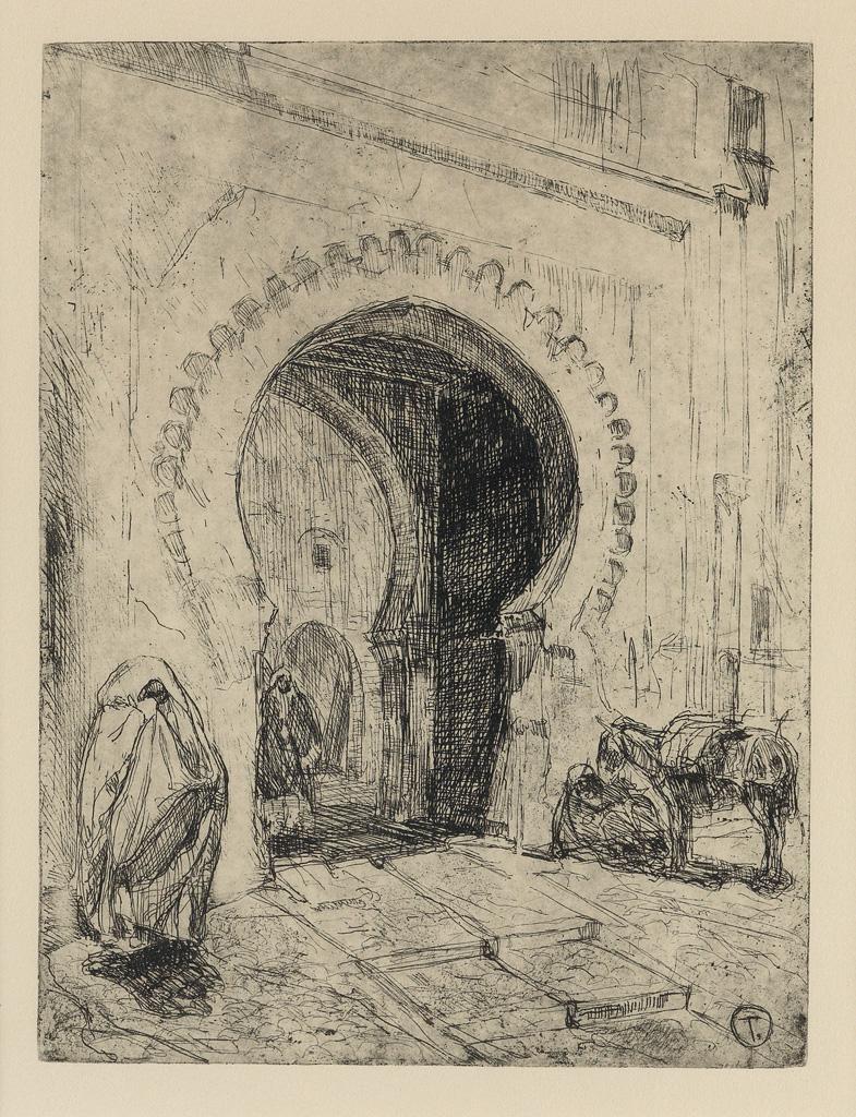 HENRY OSSAWA TANNER (1859 - 1937) Gateway in Tangier.