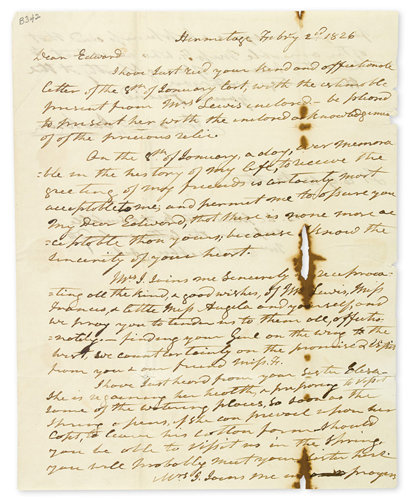JACKSON, ANDREW. Autograph Letter Signed, to Edward G.W. Butler,