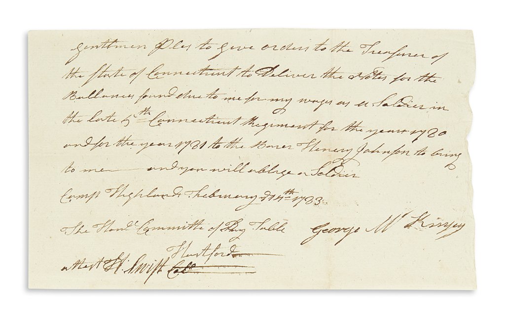 (AMERICAN-REVOLUTION)-SWIFT-HEMAN-Autograph-Document-Signed-
